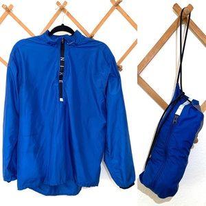 Blue Nike Packable Rain Pullover Jacket